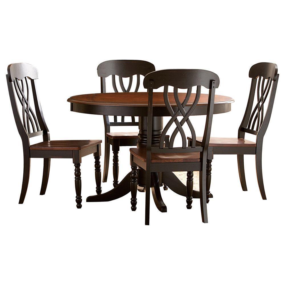 HomeSullivan 5-Piece Round 2-Tone Finish Dining Table Set-DISCONTINUED