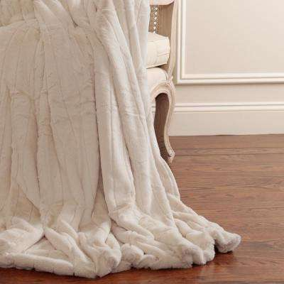 60 in. L Luxe Faux Mink Fur Taupe Throw