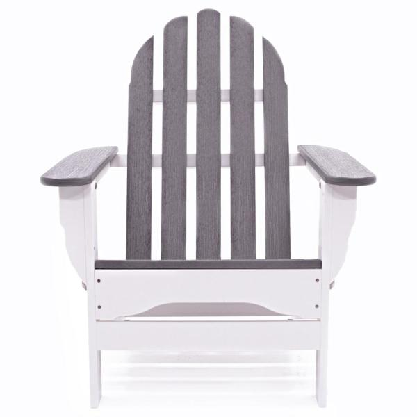 Icon White and Driftwood Plastic Folding Adirondack Chair