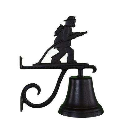 Cast Bell with Black Fireman Weathervane