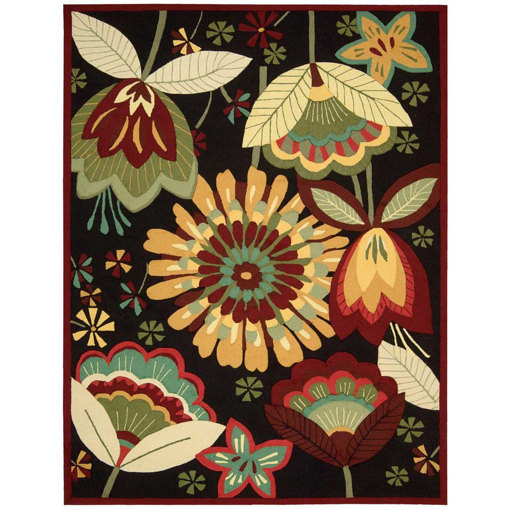 Nourison Folk Flowers Black 8 ft. x 10 ft. 6 in. Area Rug