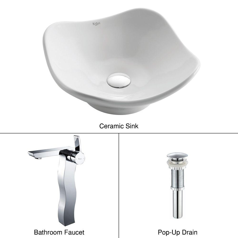 KRAUS Tulip Ceramic Vessel Sink in White with Sonus Faucet in Chrome