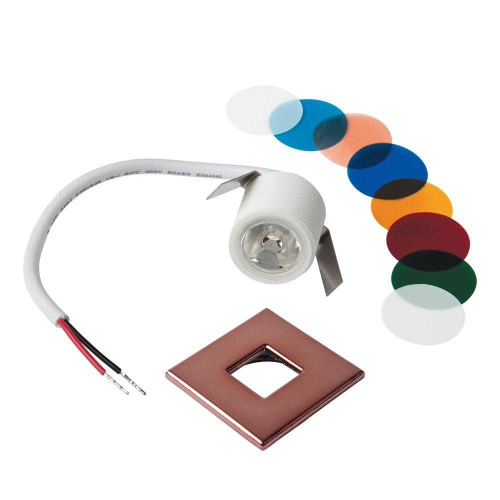 Armacost Lighting Mini Bright White Integrated LED Recessed Puck Light with Square Copper Polycarbonate Trim Ring