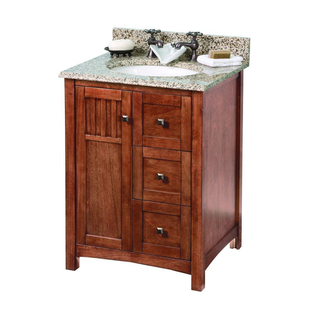 Home Decorators Collection Knoxville 25 in. W x 22 in. D Vanity in Nutmeg with Granite Vanity Top in Montesol