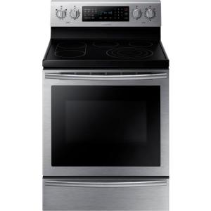 Samsung 30 inch 5.9 cu. ft. Electric Range with Self-Cleaning True Convection Oven in Stainless Steel by Samsung