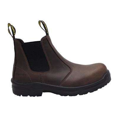 Dredge Men's Size 10.5 Brown Leather Steel Toe Chelsea Work Boot