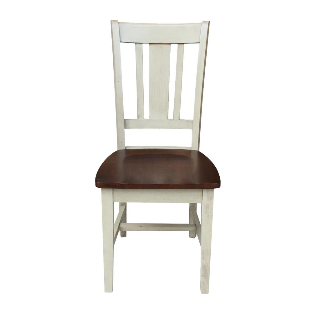 San Remo Antique Almond and Espresso Wood Dining Chair (Set of