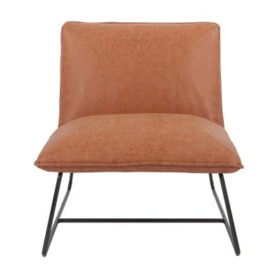 Brocton Chair in Sand Faux Leather with Gunmetal Frame