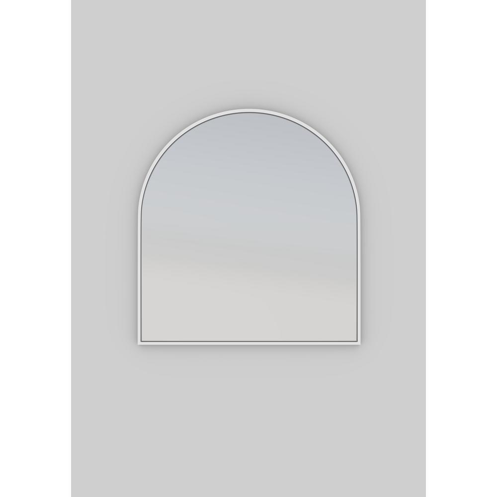 30 in. W x 32 in. H Framed Arched Anti-Fog Bathroom Vanity Mirror in White