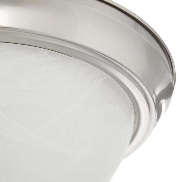 Hampton Bay 11 In 1 Light Brushed Nickel Flush Mount With Alabaster Glass Shade And Pull Chain Huj8091a The Home Depot