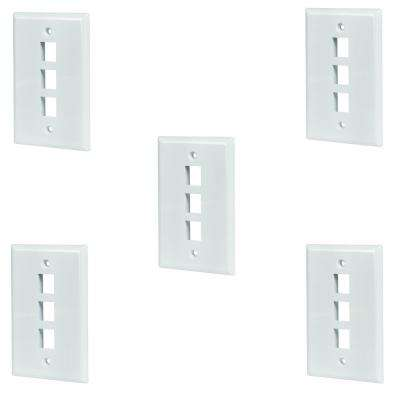 3-Port Wall Plate, White (5-Pack)