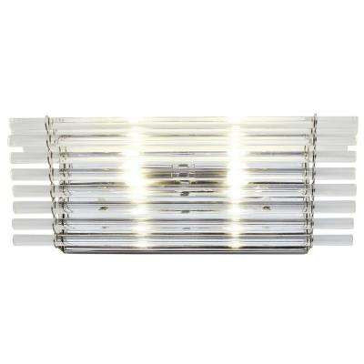 Empire State 2-Light Polished Stainless Steel Bath Light