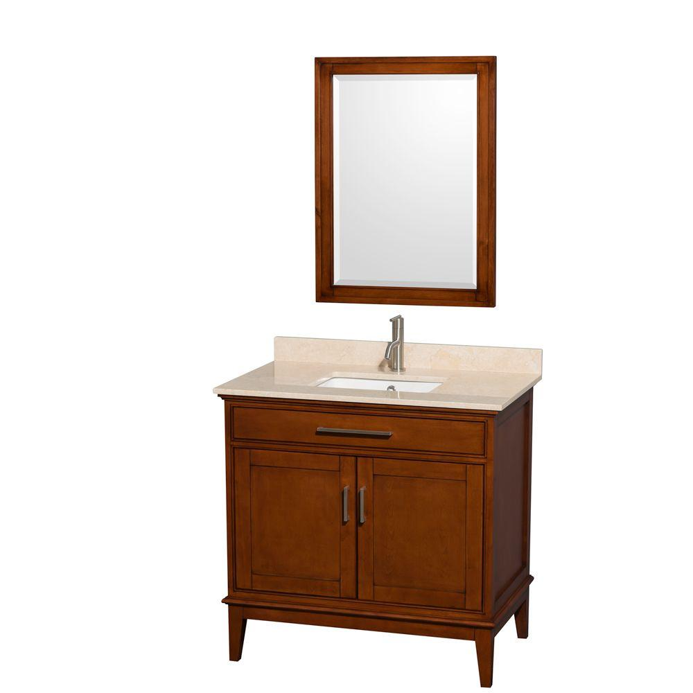 Wyndham Collection Hatton 36 in. Vanity in Light Chestnut with Marble Vanity Top in Ivory, Square Sink and 24 in. Mirror