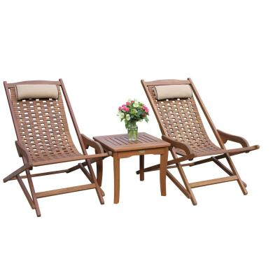 3-Piece Weather Resistant Eucalyptus Swing Outdoor Lounge Chair Set with Square Accent Table