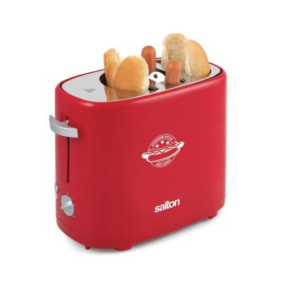 2-Slice Red Long Slot Hot Dog and Bun Toaster with Tongs Included