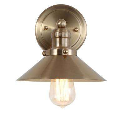 August 7.75 in.  Metal Shade Brass Gold Sconce