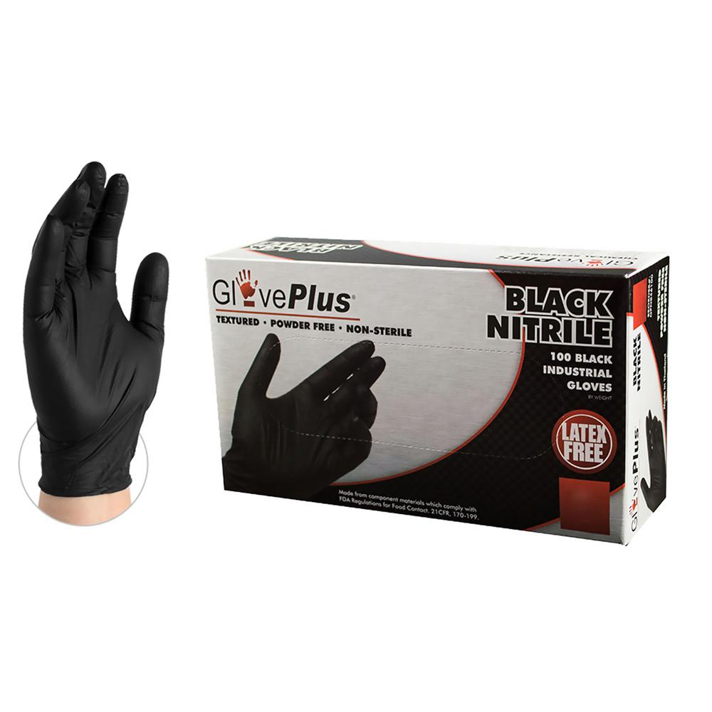 AMMEX AMMEX GlovePlus Black Nitrile Industrial Powder-Free 5 Mil Disposable Gloves (100-Count) - Large, Adult Unisex