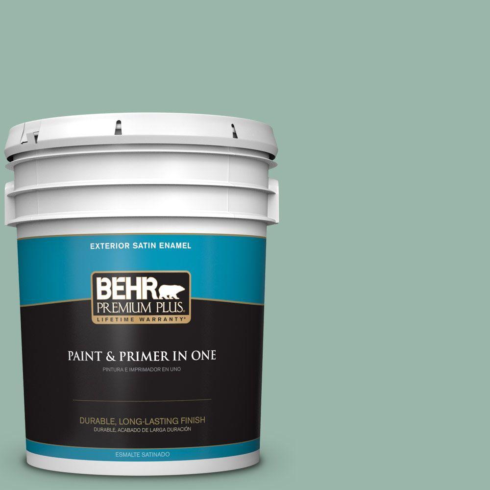 BEHR Premium Plus 5-gal. #S420-3 Nile River Satin Enamel Exterior Paint