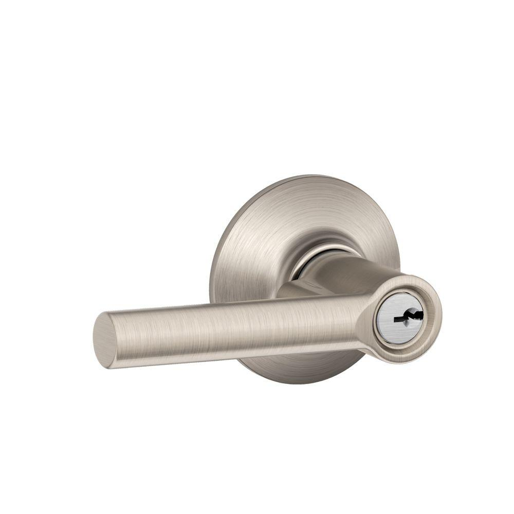 Broadway Satin Nickel Keyed Entry Lever