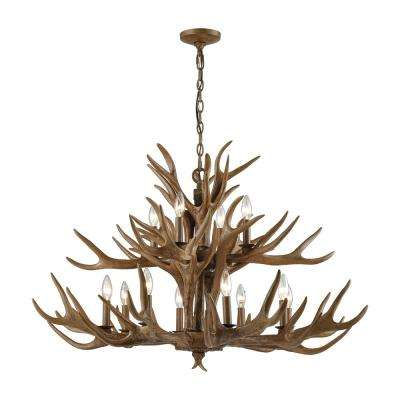 Titan lighting brown chandeliers lighting the home depot elk 12 light wood brown chandelier aloadofball Gallery