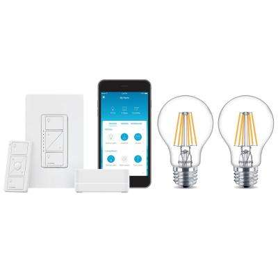 Caseta Wireless Smart Lighting Dimmer Switch Start Kit and 2 Philips A19 LED Light Bulbs with Warm Glow Effect