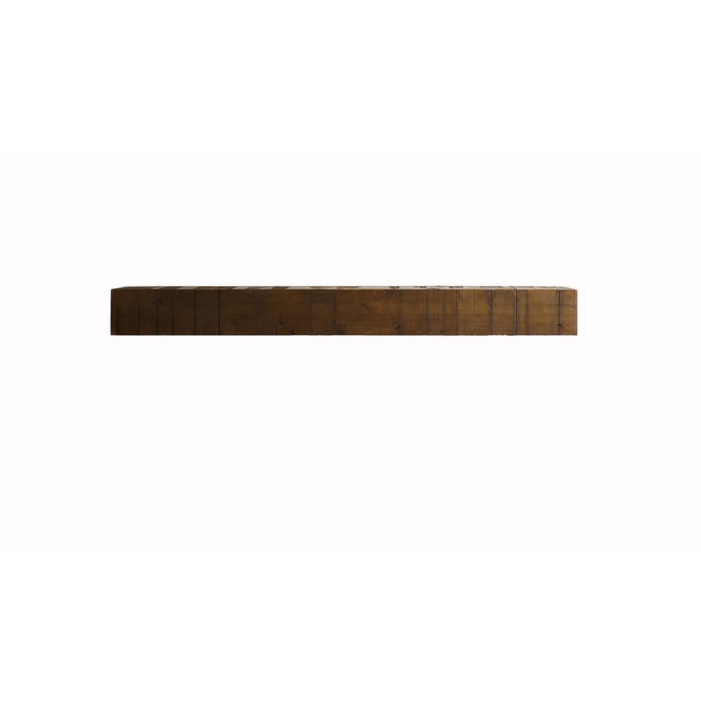 BjornWoodworks Bjorn Woodworks 60 in. x 10 in. Midgard Wood Cap-Shelf Mantel, Distressed/ Stained/ and Glazed.