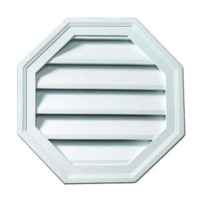 22 in. x 22 in. Polyurethane Functional Octagon Louver Gable Vent Primed White