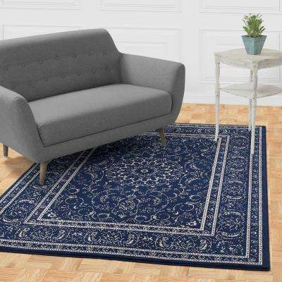 Jasmin Collection Navy and Ivory 2 ft. 7 in. x 9 ft. 10 in. Oriental Medallion Runner Rug