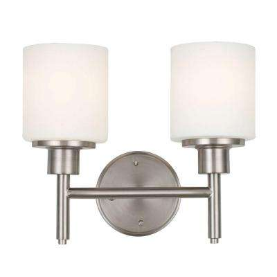 Aubrey 2-Light Satin Nickel Indoor Wall Mount Sconce with Frosted Glass Shades