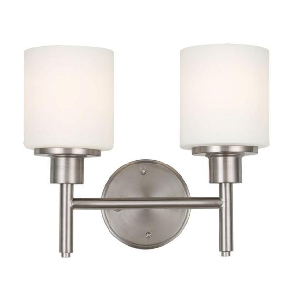 Aubrey 2-Light Satin Nickel Indoor Bath or Vanity Light with Frosted Glass Shades