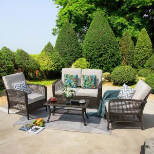 Deals on Nuu Garden Rattan 4-Pc Outdoor Wicker Sofa Set Conversation Set