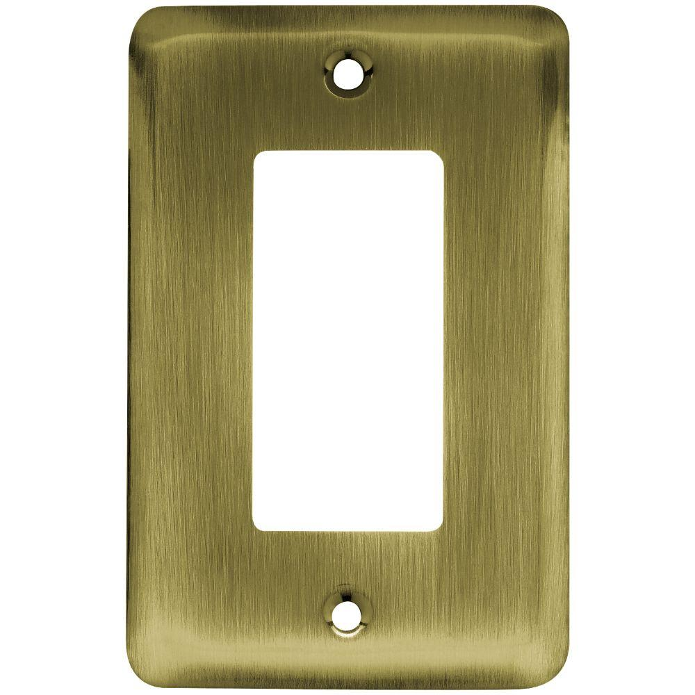 Liberty Stamped Round Decorative Single Rocker Switch Plate, Antique  Brass 64123   The Home Depot