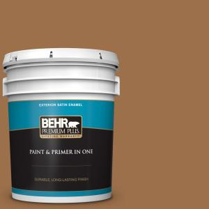 Behr Premium Plus 5 Gal Ppu4 17 Olympic Bronze Satin Enamel Exterior Paint And Primer In One 934005 The Home Depot