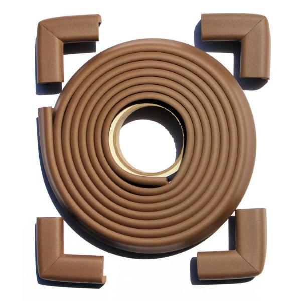 12 ft. Edge and Corner Safety Cushion Roll Plus Corners in Brown (4-Pack)
