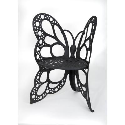 Black All-Weather Metal Butterfly Outdoor Lounge Chair in Black