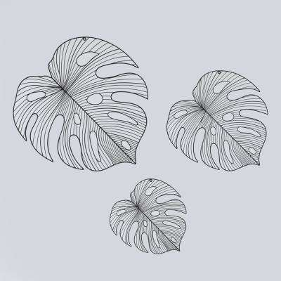 Metal Palm Leaves Wall Decor (3-Pieces)