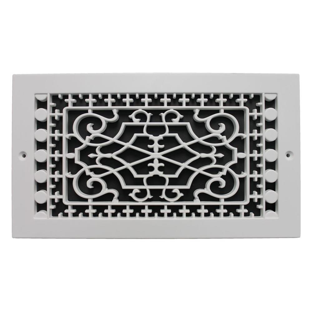 SMI Ventilation Products Victorian Base Board 6 in. x 12 in. Opening, 8 in. x 14 in. Overall Size, Polymer Decorative Return Air Grille, White