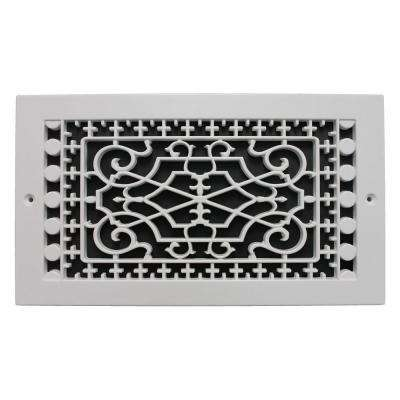 Victorian Base Board 6 in. x 12 in. Opening, 8 in. x 14 in. Overall Size, Polymer Decorative Return Air Grille, White