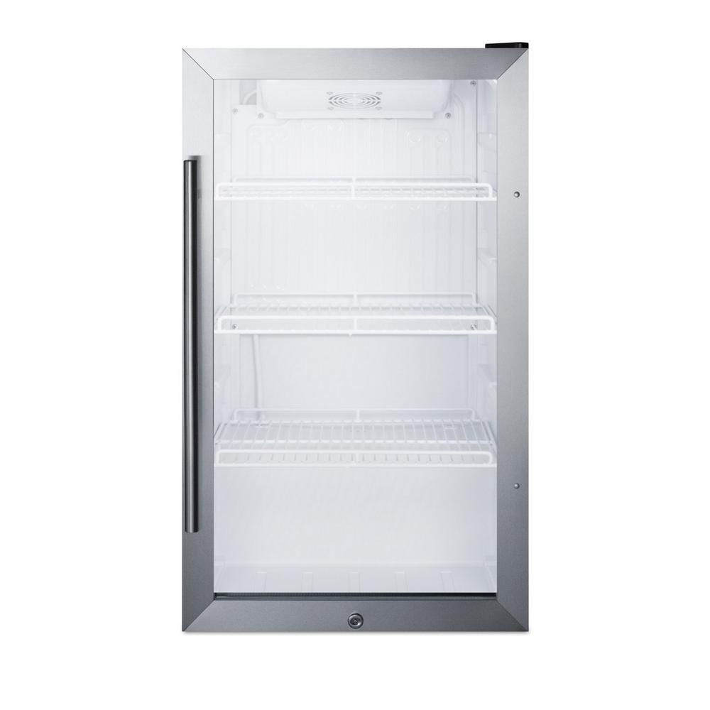 Summit Appliance 19 in. 3.1 cu. ft. Commercial Outdoor Refrigerator in Black Summit Commercial's line of outdoor appliances includes slim-fitting display refrigerators designed for optimum storage and product presentation. The SCR489OS is ETL-S listed to NSF-7 and meets UL-471 for commercial use. Sized at just 19 in. wide, it features a jet black cabinet with a sealed back for safe outdoor use. The user-reversible double pane tempered glass door includes stainless steel trim and a pro style handle. A factory installed lock offers added security. Inside, the SCR489OS utilizes automatic defrost for minimum user maintenance. The white interior and LED lighting provide full visibility of stored items. Adjustable shelves offer flexible storage to hold up to 70 cans inside the 3.1 cu. ft. interior. This unit includes an adjustable dial thermostat located in the upper right corner for easy temperature management. The SCR489OS can be installed indoors or indoors and is designed for freestanding use. Summit offers additional choices for outdoor kitchens, including built-in refrigerators and freezers in 15 in. and 24 in. wide fits. Browse our full line for more options.
