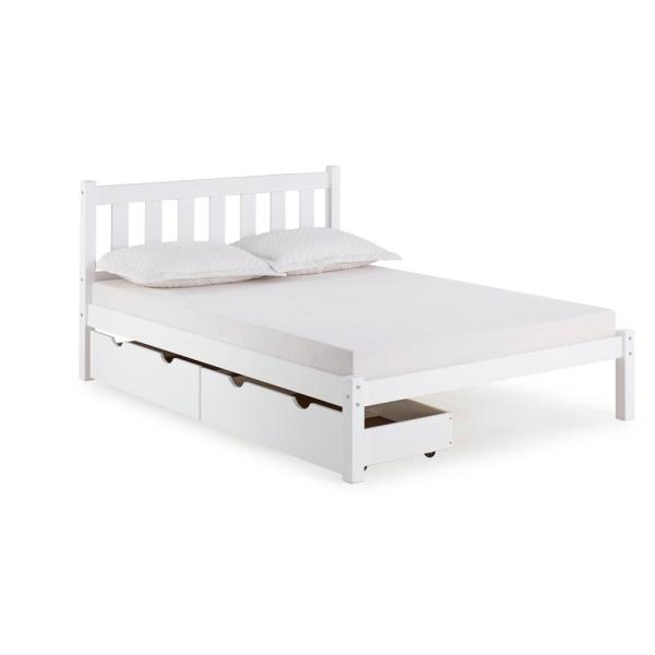 Alaterre Furniture Poppy White Full Bed with Storage Drawers AJPP20WHS