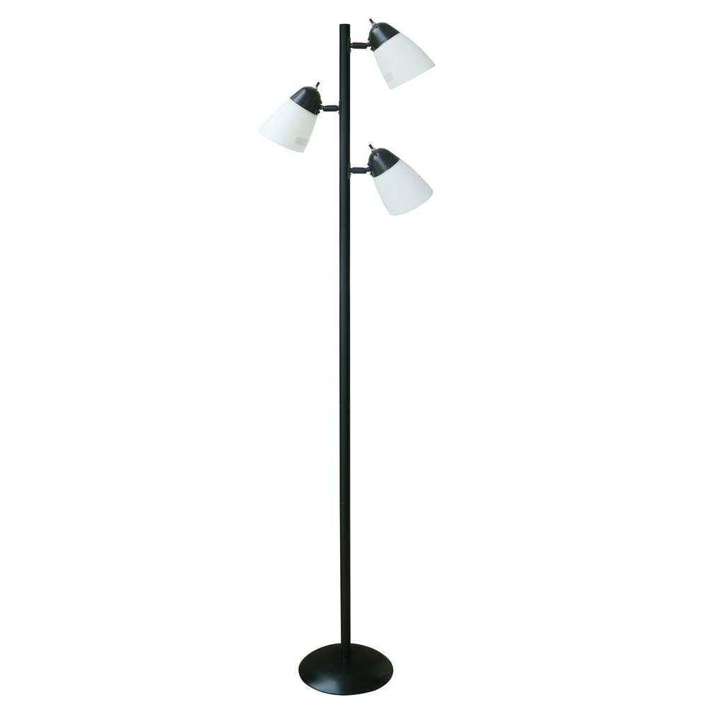 Hampton bay 645 in black track tree floor lamp with 3 white black track tree floor lamp with 3 white plastic shades af40332 the home depot aloadofball Choice Image