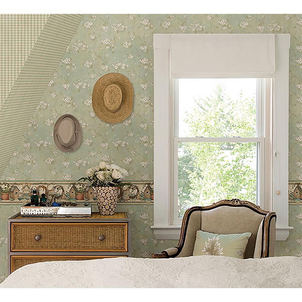 Dixie Aqua Floral Trail Wallpaper Sample