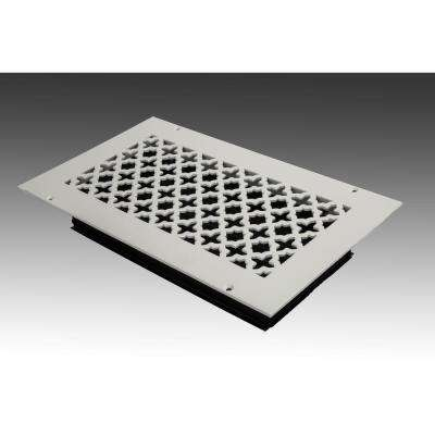 12 in. x 6 in. White Poweder Coat Steel Wall Ceiling Vent with Opposed Blade Damper