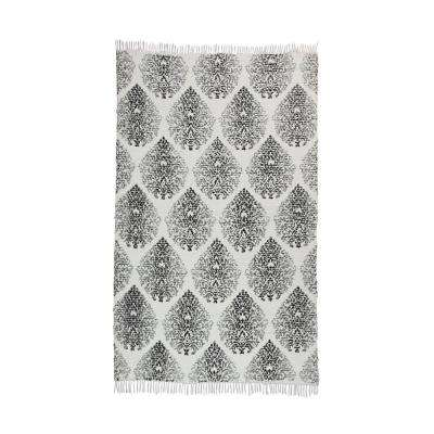 Sinuous Pattern Vintage Hand-Woven Grey 5 ft. x 7 ft. Area Rug
