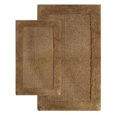 Naples Linen 21 in. x 34 in. and 24 in. x 40 in. 2-Piece Bath Rug Set