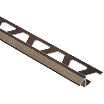 Reno-TK Brushed Antique Bronze Anodized Aluminum 3/8 in. x 8 ft. 2-1/2 in. Metal Reducer Tile Edging Trim