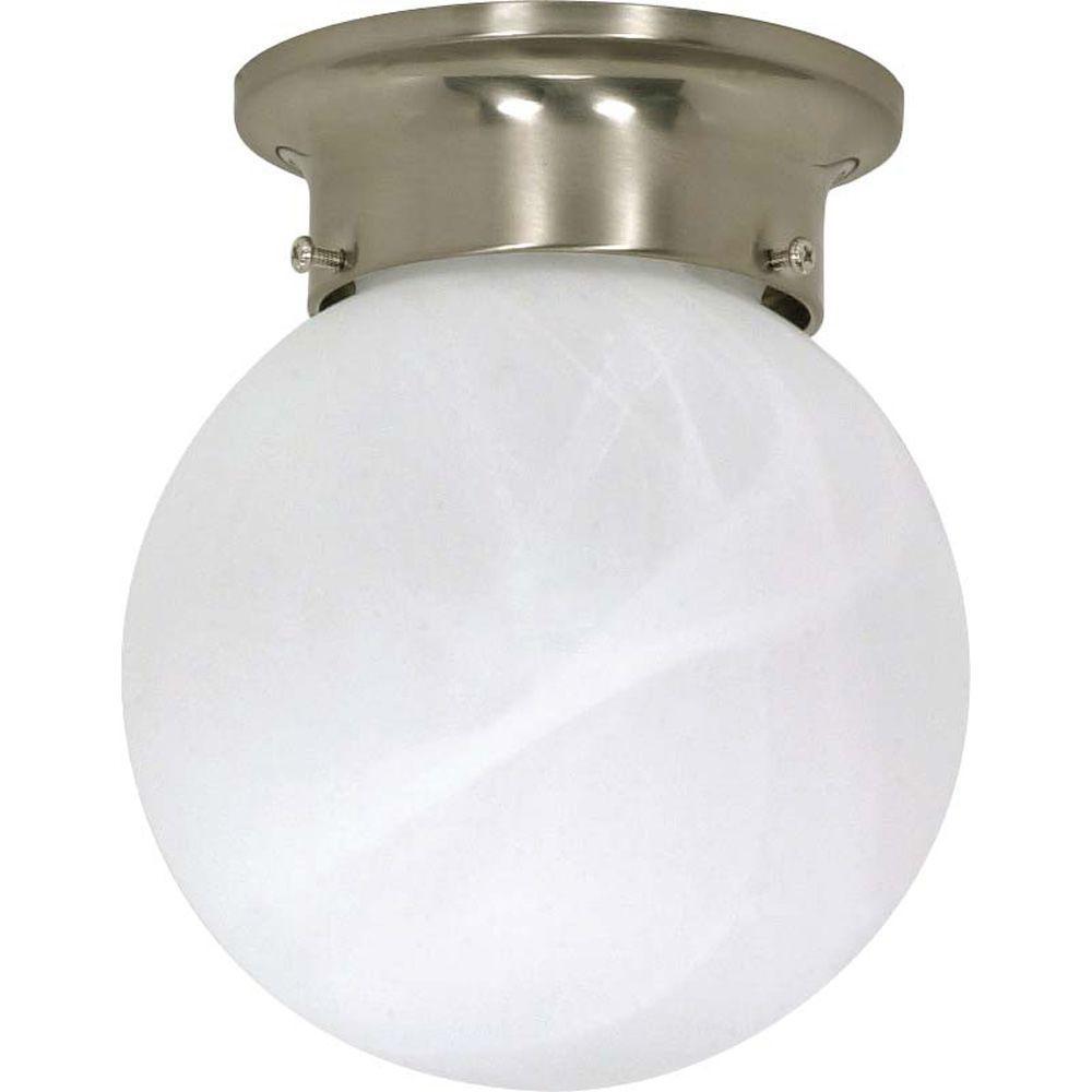 Elektra 1-Light Brushed Nickel Flush Mount with Alabaster Glass