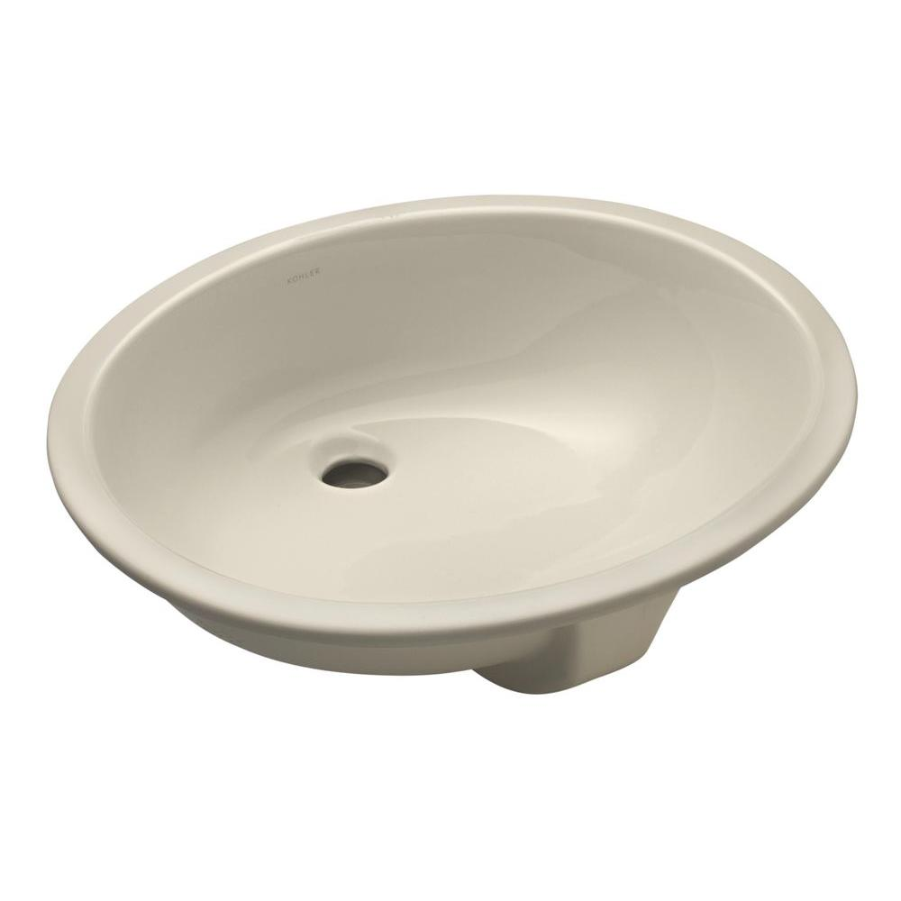 Caxton Undermount Bathroom Sink in Biscuit with Overflow Drain