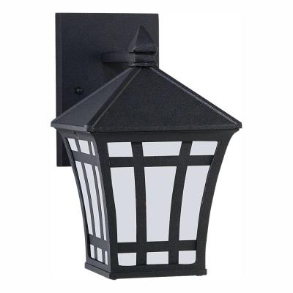 Herrington 1-Light Black Outdoor 10 in. Wall Lantern Sconce