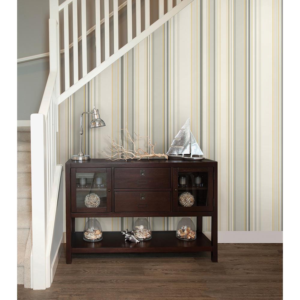 Cape Elizabeth Grey Stripe Wallpaper